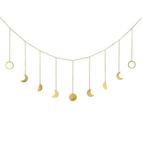 Halloween Display Ideas Nursery (Mkono Moon Phase Garland with Chains Boho Gold Shining Phase Wall Hanging Ornaments Moon Hang Art Room Decor for Wedding Home Office Nursery Room Dorm,)