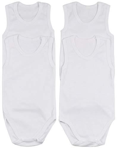 ToBeInStyle Baby Boys' 4 Pack Tank Top Bodysuit Onesies - White - 3-6 Months
