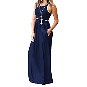 Tosonse Summer Boho Maxi Dresses for Women Short Sleeve Tank Long Dress with Pocket