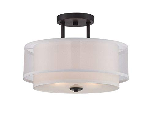 Designers Fountain 86111-BBR Fusion - Two Light Semi-Flush Mount, Biscayne Bronze Finish with Clear/Frosted Glass with White/Organza Fabric Shade ()