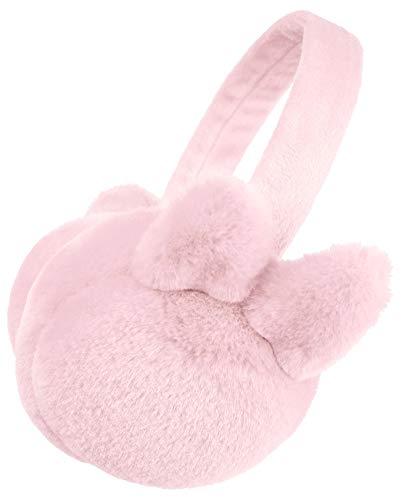 Simplicity Kids Girls Earmuffs Cute Plush Winter Ear Warmers, Light Pink (Kids Girls Ear Muffs)