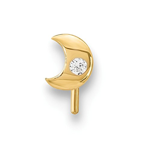 - 14k Yellow Gold Cubic Zirconia Cz Moon Nose Stud Body Nostril Fine Jewelry For Women Gift Set