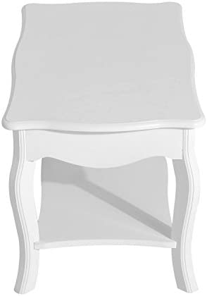 HOMCOM Coffee Tea Table End Table Modern Living Room Wooden Furniture 2 Layer Design w/Storage Shelf 94L x 44W x 42H (cm)