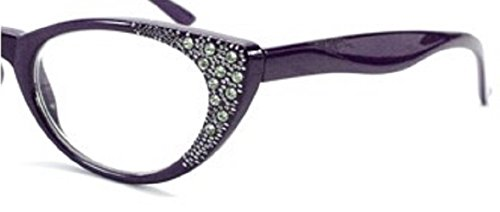 Rhinestone Cat Eye Womens Reading Glasses +1.75 Purple (Carrying Case Included)