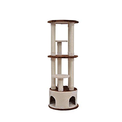 "Pawhut 61"" Three Story Cat Tree Scratching Post Condo - Brow"