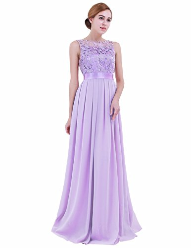 iEFiEL Summer Wedding Floral Lace Crochet Bridesmaid Chiffon Dress Evening Gown Lavender 2