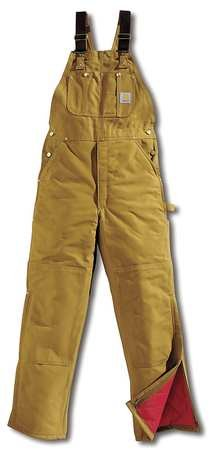 Bib Overalls, Brown, Size 36x32 In