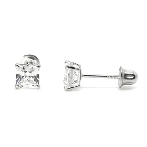 Cute Screw Back Earrings 14k White Gold with Square Cubic Zirconia 4mm