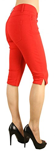 Colored Shorts Slim Soft Stretch Bermuda - Sexy, Cute Multiple Colors - Shade Red - Waist S