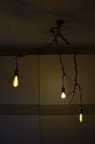 Araña de madera natural Lámpara de techo rustico con rama de olivo ...