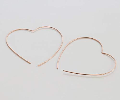 Rose Gold Hoop earrings, Big heart open hoop, 21 gauge wire, handmde, Nickel Free, Diameter 1.72