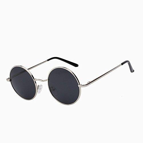 verano pequeño Hombre Mujer Unisex Steampunk de de de vuelta sol Silver estilo redondo black gafas de negro aleación TIANLIANG04 plata de de polarizadas sol marco gafas w UV400 W qXzTwd