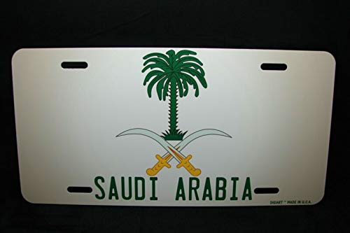 Yilooom Saudi Arabia Coat of Arms Flag Metal Novelty License Plate for Cars ???? ??????? Auto Car Novelty Accessories License Plate Art