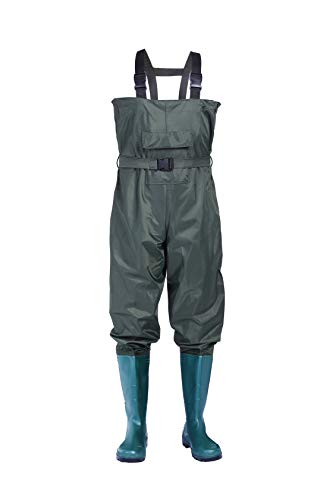 no!no! Chest Waders,Fishing Waders for Men and Women Waterproof Nylon/PVC Bootfoot Hunting Waders with Boots Fishing Waiters with Wading Boots,Lightweight Green Waders (9)
