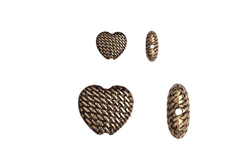 Pewter beads, antique-Brass-plated, double-sided puff heart, 9x10mm sold per 10pcs per pack