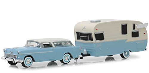 - DIECAST 1:64 Hitch & Tow Series 16-1955 Chevrolet Nomad and Shasta AIRFLYTE with Awning 32160-A by Greenlight