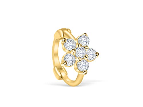 14K Solid Gold Jewelry Cz Snowflake Flower Open Round Circle Tragus Cartilage Snug Rook Daith Helix Ear Segment Clicker Hoop Ring Piercing Earring For Women