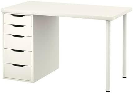 Ikea Linnson - Mesa de Ordenador con cajones, Color Blanco (47 1/4 ...