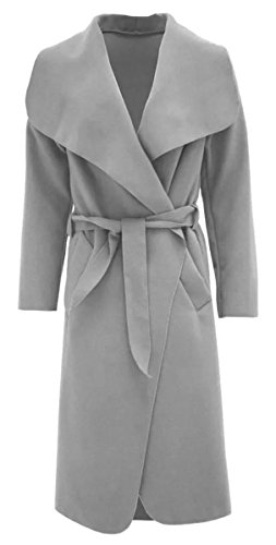 Thever Women Ladies Celb Long Sleeve Wool Wrapped up Draped Belted Coat Cape (One SZ(6-12), Silver Grey)