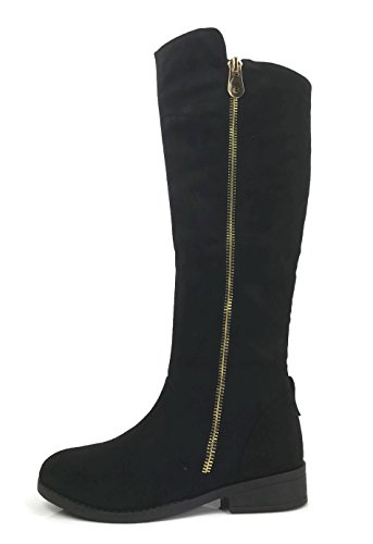 Womens Fiorina Knee High Boots Soft Faux Suede Flat Heel With Side Zipper, Black, (Tall Womens Flats Boots)