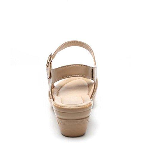 Mujer L antideslizantes 43 cuero YC en zapatos 2017 con Pendiente marrón suave alto los Girls Sandalias de tacón ERnHgWRq