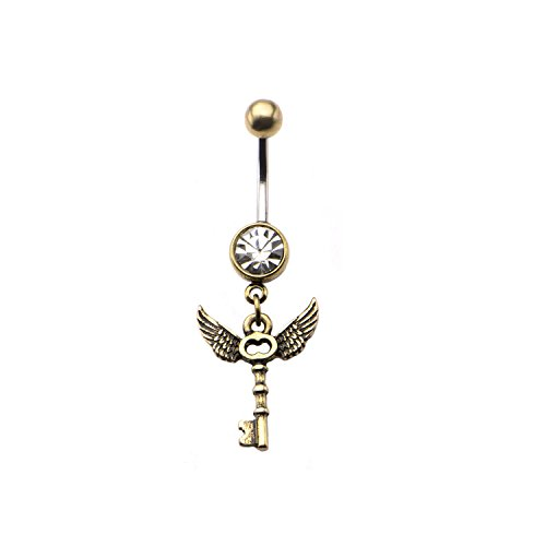 Dynamique 14G Navel Ring with Antique Brass Winged Skeleton Key Dangle Charm
