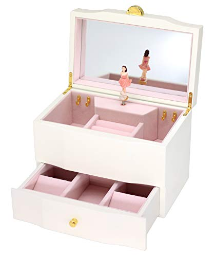 Attii Wooden Musical Jewelry Box for Girls with Drawer and Large Mirror, You are My Sunshine Tune (Brunette) - Mirror Golden Sun