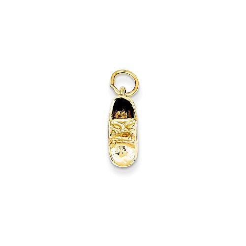 14k Gold Single Baby Shoe Charm Pendant (0.67 in x 0.2 in)