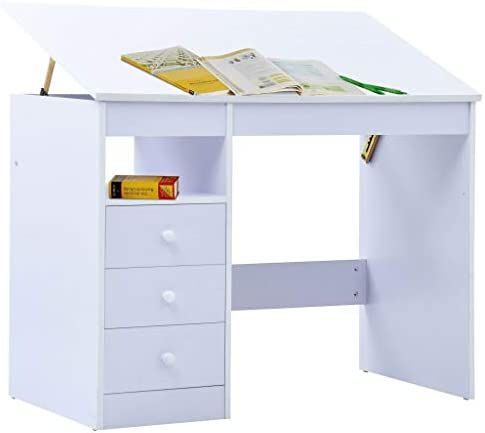 vidaXL Children Drawing Study Desk Tiltable White Kid Workspace Writing Table Classic Kids Desk Kids Study Table with Drawer Children's Furniture