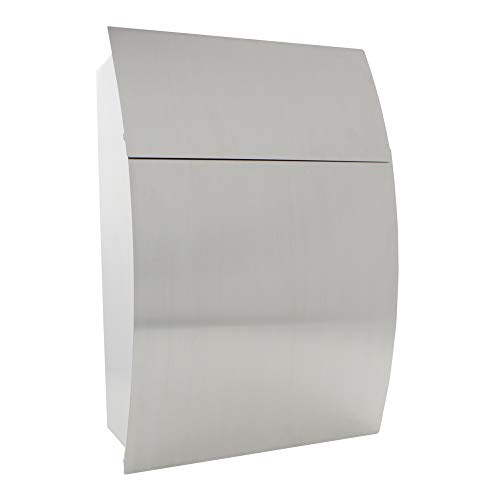 (Home Design HDM-810 Silver Inox Contemporary Stainless Steel Mailbox)