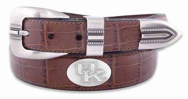 ZEP-PRO NCAA Kentucky Wildcats Men's Crocodile Leather Concho Tapered Tip Belt, Tan, 42