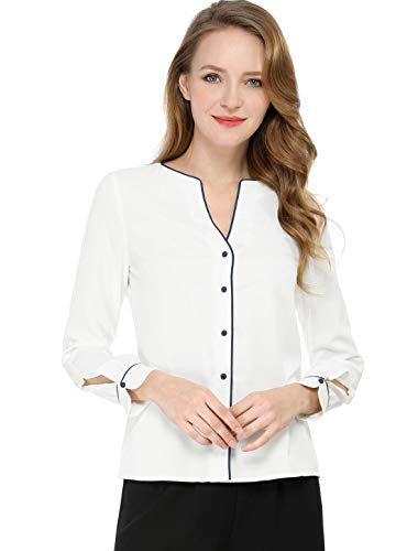 (Allegra K Women's Button Down Long Sleeves Contrast Trim V Neck Elegant Blouse Top S Off White)