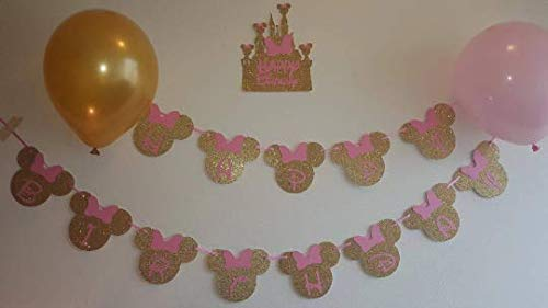 Glitter Gold & Pink Minnie Head Birthday Banner with a Castle Sign Plus 24 Minnie Head and Bow Glitter Stickers (1 Package)(Total 24 Heads + 1 Banner)