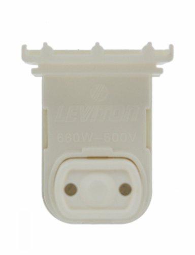 Leviton 13570-NW Medium Base, Bi-Pin, Standard Fluorescent Lampholder, Pedestal, Slide-On, Plunger, White