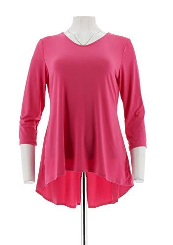 Susan Graver Modern Essentials Liquid Knit Peplum Top Fiery Pink S New A302685 from Susan Graver