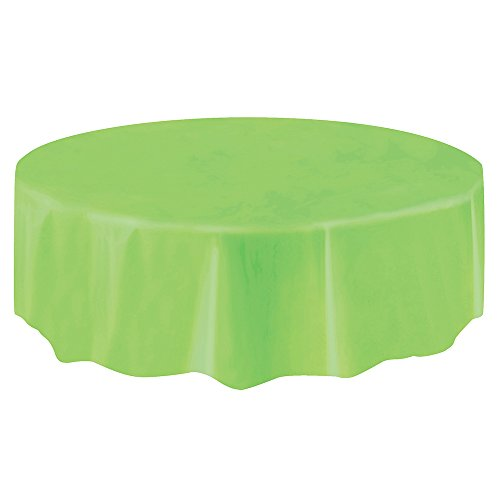 Lime Tablecloths - Round Lime Green Plastic Tablecloth, 84