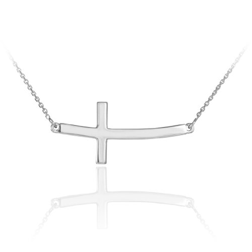 14k Solid White Gold Sideways Curved Christian Cross Necklace (16 inches)