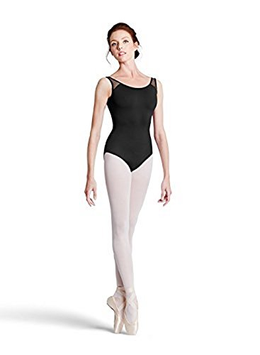 Bloch womens Floral flock mesh back panel tank leotard with velvet piping , Black, XLarge (Bloch Tank Leotard)