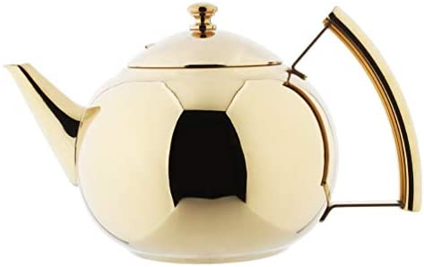 OMGard Tea Pot with Infuser Loose Tea Leaf Filter 1.5 Liter Stainless Steel Teapot Coffee Water Small Kettle Strainer Set Gold Warmer Teakettle for Stovetop Induction Stove Top 1.6 Quart 51 Ounce