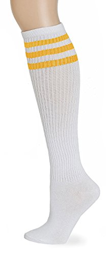 Leotruny Classic Triple Stripes Knee High Tube Socks (White/Yellow)]()