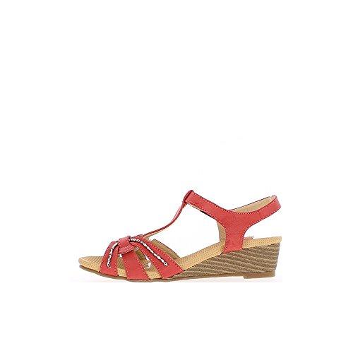 Sandales compensées femme rouges à petit talon de 4,5cm décor strass