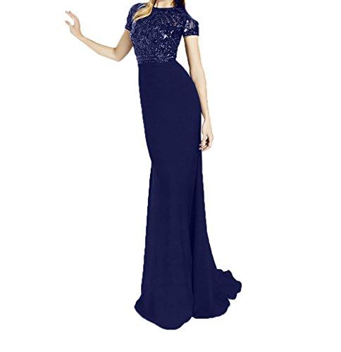 Schnitt Pailletten Kurzarm Brautmutterkleider Schwarz Festlichkleider Abendkleider Royal Schmaler Blau Ballkleider Dunkel Damen Charmant qwZWCz1nZH