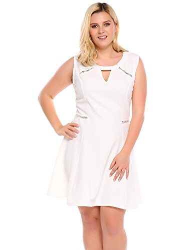 Sexy White Skater Cut Dress Sleeveless Dress Dress Plus Size Out