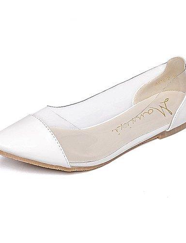 PDX/ Damenschuhe-Ballerinas-Lässig-Kunstleder-Flacher Absatz-Plateau / Spitzschuh-Weiß / Silber , white-us5.5 / eu36 / uk3.5 / cn35 , white-us5.5 / eu36 / uk3.5 / cn35