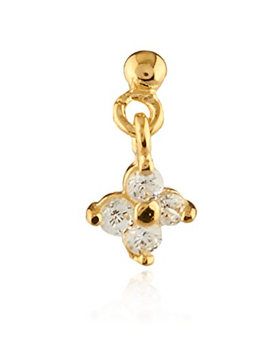 JOTW 14k Yellow Gold Nose Stud with Dangling Flower (GO-1613)