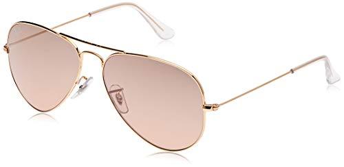 RAY-BAN RB3025 Aviator Large Metal Sunglasses, Gold/Pink Mirror Gradient, 58 mm (Ray Sunglasses Aviator Womens Ban)