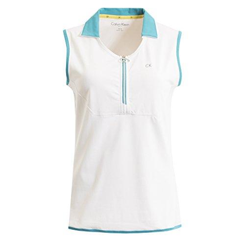 T Cassé Klein Femme Blanc shirt Sans Sport bleu Col Manche De Calvin gH5UwqU