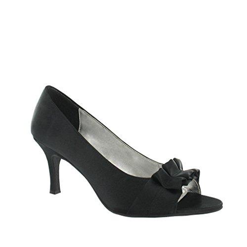 Ladies Lexus Peep Toe Court Shoe with Decorative Material Trim. Black fH113