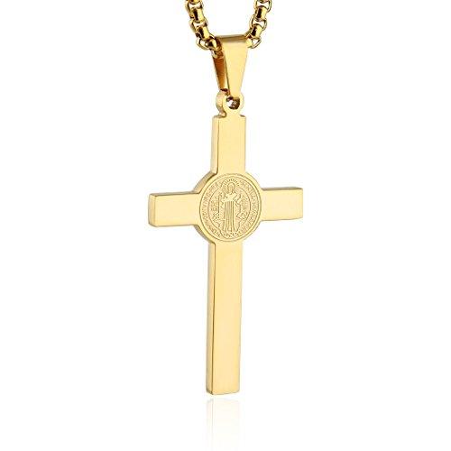 HZMAN INRI Stainless Steel Saint St St. Benedict Cross Pendants Necklace 24