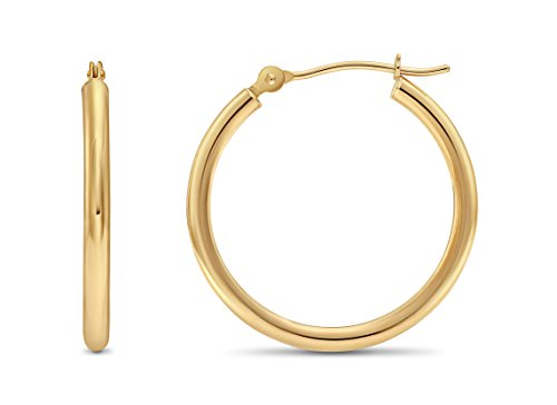 14k Yellow Gold 2mm Tube Polished Round Hoop Earrings, (22mm) (0.87 inch) (Gold Large Hoop)
